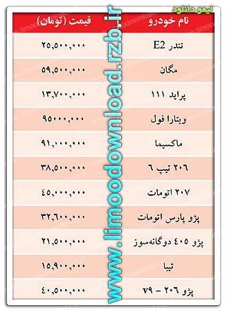 قیمت خودرو امروز ۲۹ آبان ۹۱