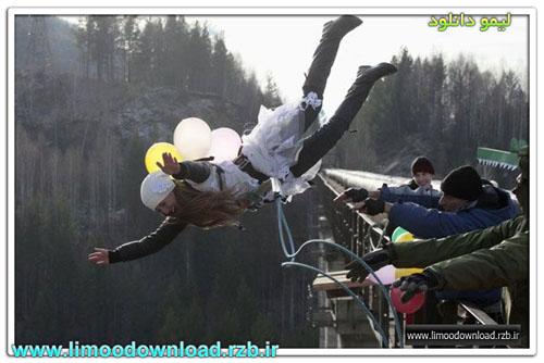 عکس : پرتاب یک زن از ارتفاع ۴۴ متری به مناسبت جشن هالوین !