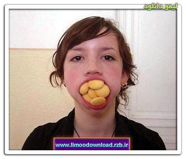 یک جعبه شیرینی در دهان این دختر جا میشود ! / عکس